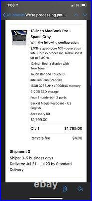 Apple MacBook Pro 13 (Mid 2020) Core i5 16GB Memory 512GB SSD Space Grey