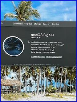 Apple MacBook Pro 15 i7 2.2GHz 16GB 250GB SSD A1398 Retina MID 2015 Laptop
