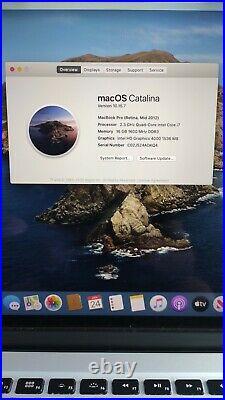 Apple MacBook Pro Retina 15 (Mid-2012) -16GB RAM- 256GB