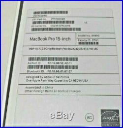 Apple Macbook Pro 15.4 Mid2018 SpaceGray 2.9GHz 32GB RAM 4TB SSD Radeon 560X 4GB