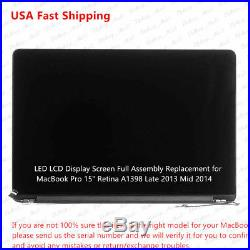 MacBook Pro 15 A1398 Late 2013 Mid 2014 Retina LCD Screen Assembly 661-8310