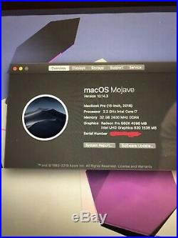 MacBook Pro 15 Mid 2018 2.2GHz i7 6-core 1TB 32GB 560X Battery Cycle 8