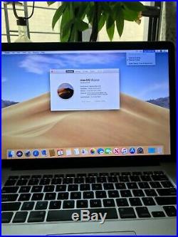 Macbook Pro Mid 2012 15 2.6GHZ i7 Retina 500GB SSD 16GB RAM with MOJAVE OSX