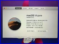 Macbook Pro Retia, 15 MID 2015 I7 2.8ghz, 16g Ram, 256g Ssd, Mojave, Win8.1