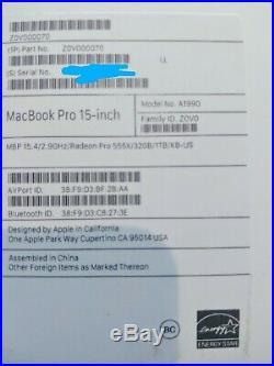 New Apple MacBook Pro (15-inch Mid 2018) 2.9 GHz Intel core i9 1TB SSD 32GB RAM